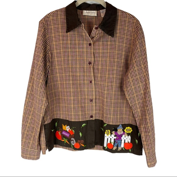 Vintage fall scarecrow embroidered shirt